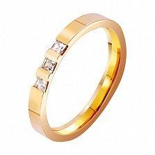 Золотое обручальное кольцо Любовь на века с фианитами