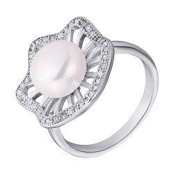 Серебряное кольцо с жемчугом и фианитами 000132580