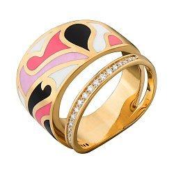 Кольцо в желтом золоте с бриллиантами и эмалью 000073445