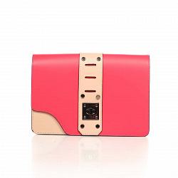 Кожаный клатч Genuine Leather 8917 розово-кораллового цвета с декоративной пряжкой
