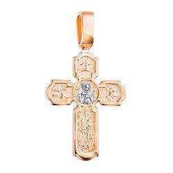 Золотой крестик Крепкая Вера в комбинированном цвете с чернением 000117558