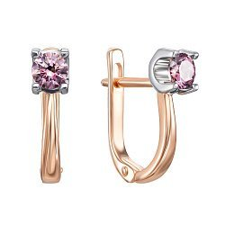 Золотые серьги Винтурини в комбинированном цвете с розовыми кристаллами Swarovski