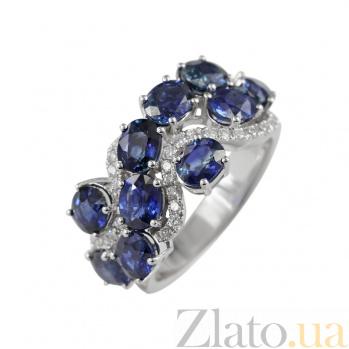 Золотое кольцо с сапфирами и бриллиантами На волнах 000026881