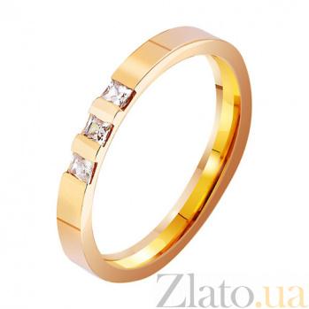 Золотое обручальное кольцо Любовь на века с фианитами TRF--412928