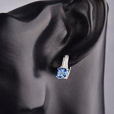 Серебряные серьги Либерика с кварцем London blue и фианитами