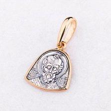 Серебряная ладанка Св. Николай Чудотворец с чернением и позолотой