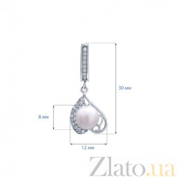 Серьги серебряные с жемчугом Tenerezza   AQA-E00133PW