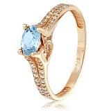 Золотое кольцо Хармони с топазом и фианитами