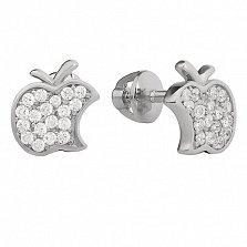 Серебряные серьги-пуссеты Эппл с белым цирконием