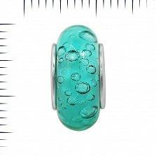 Серебряный шарм Весенний дождь с голубым муранским стеклом