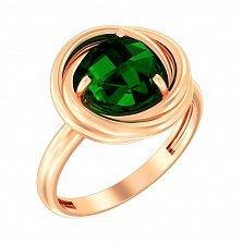 Золотое кольцо Весенняя роза с зеленым кварцем