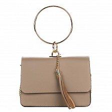 Кожаный клатч Genuine Leather 1669 цвета тауп с круглой металлической ручкой