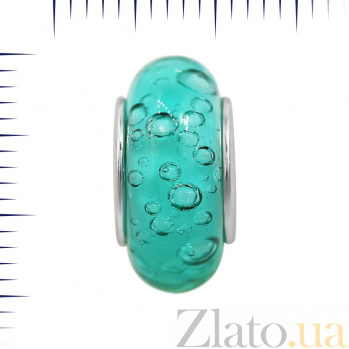 Серебряный шарм Весенний дождь с голубым муранским стеклом 000081728