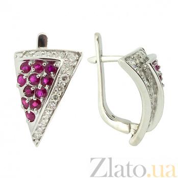 Серебряные серьги с бриллиантами и рубинами Косынка ZMX--EDR-6127-Ag_K