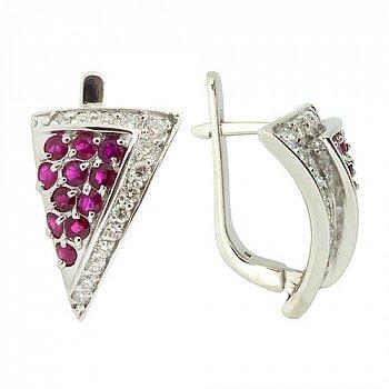 Серебряные серьги с бриллиантами и рубинами 000022312