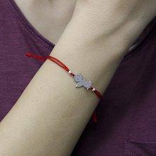 Браслет из серебра и красного шелка Ангел, 10 мм