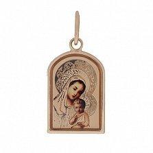 Золотая ладанка Божья Матерь в красном цвете с цветной эмалью