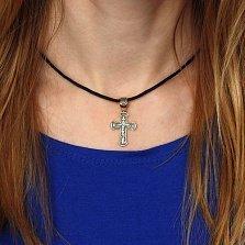Серебряный декоративный крест Благо в позолоте с чернением