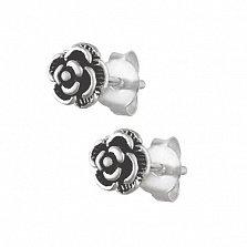 Серебряные серьги-гвоздики Розы Патио
