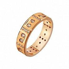 Золотое обручальное кольцо Первый поцелуй с фианитами