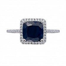 Серебряное кольцо с сапфиром и фианитами 000133829