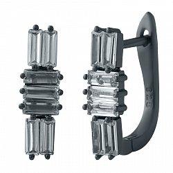Серебряные серьги Дина с фианитами и черным родием