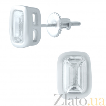 Серебряные серьги-пуссеты Эльба с фианитами 000078033