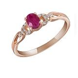 Кольцо из красного золота Маргарет с рубином и бриллиантами