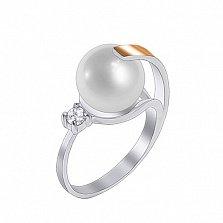 Серебряное кольцо с золотой вставкой, жемчугом и цирконием Камелия