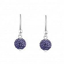 Серебряные серьги-подвески в форме шаров Блеск с кристаллами Swarovski цвета светлого танзанита
