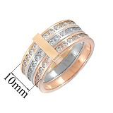 Золотое тройное кольцо с фианитами Тамия