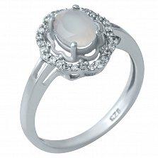 Серебряное кольцо Зимнее утро с розовым кварцем и фианитами