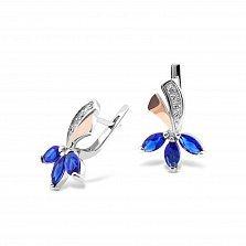 Серебряные серьги Фекла с золотыми вставками, синими и белыми фианитами