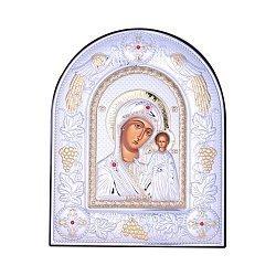 Посеребренная икона Богородица Казанская на подставке с красными кристаллами Swarovski 000131797
