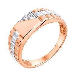 Золотой перстень-печатка в комбинированном цвете с цирконием 000117635