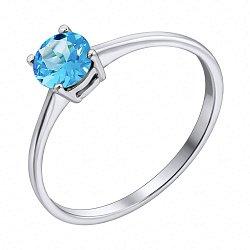 Серебряное кольцо с голубым топазом 000117865