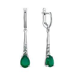 Серебряные серьги Элиза с зеленым агатом и и фианитами