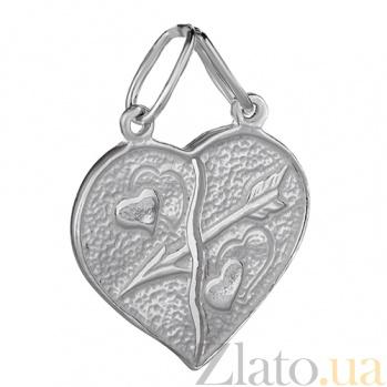 Серебряная подвеска Двойное сердце