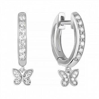 Серебряные серьги-конго с маленькими подвесками, дорожками и фианитами 000114967