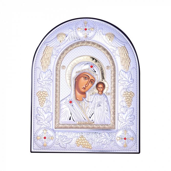 Посеребренная икона Богородица Казанская на подставке с красными кристаллами Swarovski 000131797 000131797