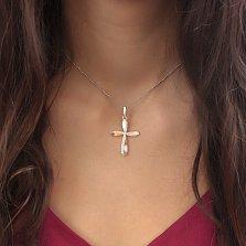 Серебряный декоративный крест Сияние души с золотыми накладками и белыми фианитами