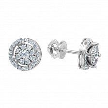 Серебряные серьги-пуссеты Калли с белыми фианитами