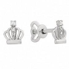 Серебряные серьги пуссеты с фианитами Коронка