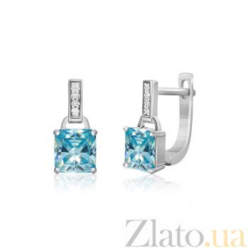 Серебряные серьги Будапешт с голубыми и белыми фианитами SLX--СК2ФТ/402