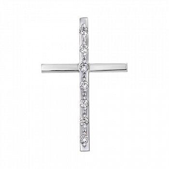 Хрестик з білого золота з діамантами 000104420