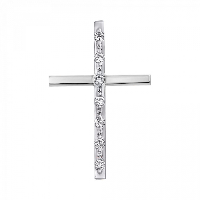 Крестик из белого золота с бриллиантами 000104420 000104420