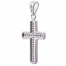 Серебряный крестик Вознесение с цирконием