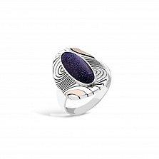 Серебряное кольцо Франческа с золотой вставкой и авантюрином