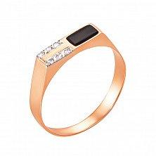 Перстень-печатка в красном золоте Марсель с черным ониксом и фианитами