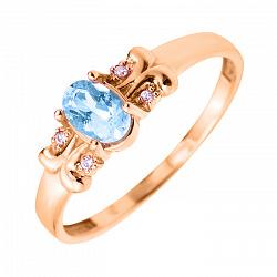 Кольцо в красном золоте Марина с голубым топазом и фианитами